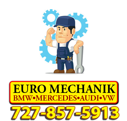 Euro Mechanik Logo & Phone with Small Mechanic Cartoon