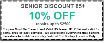 coupon with dotted lines with 10% senior discounts 65+ up to $2500 port richey location only