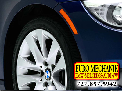 Photo of a BMW tire with Euro Mechanik Logo