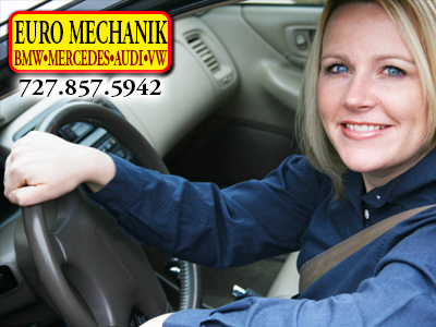 Photo of a Happy female driver with Euro Mechanik Logo