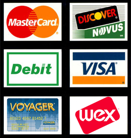 graphic with credit card logos including wex and voyager fleet cards all other major credit cards including debit